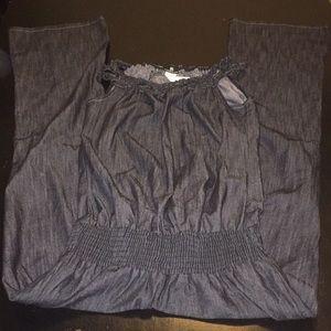 Jean tank-style jumpsuit
